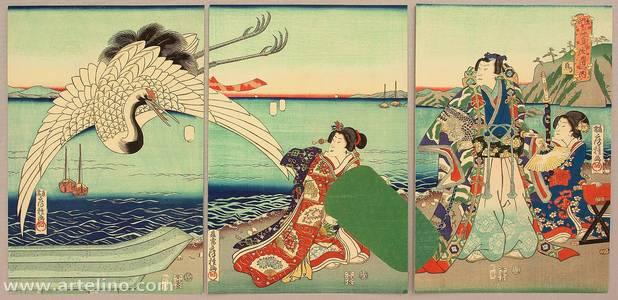 Utagawa Fusatane: Prince Genji and Crane - Artelino