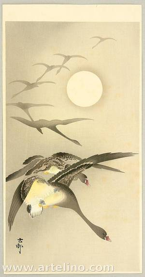 Ohara Koson: Geese and the Moon - Artelino