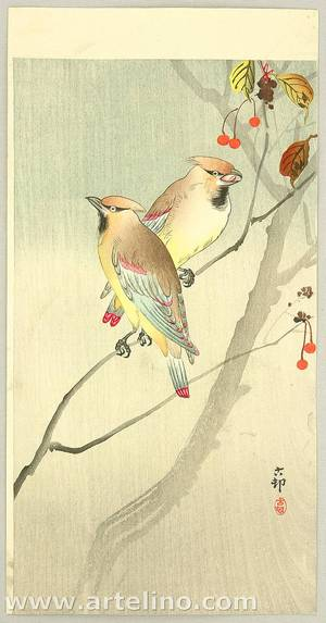 小原古邨: Waxwings and Red Berries - Artelino