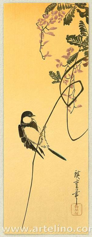 Utagawa Hiroshige: Bird and Wisteria - Artelino