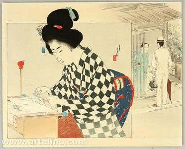 Mizuno Toshikata: Seamstress - Artelino