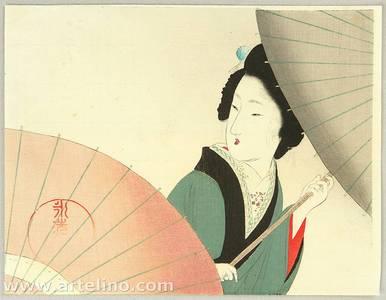 富岡英泉: Beauty and Umbrella - Artelino