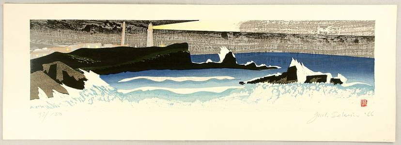 Sekino Junichiro: Lighthouse and Rough Ocean - Artelino