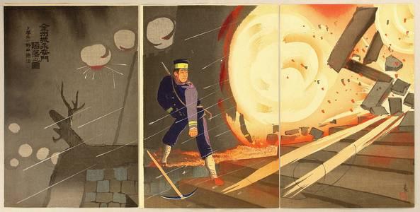 小林清親: Bombing Gate - Sino-Japanese War - Artelino