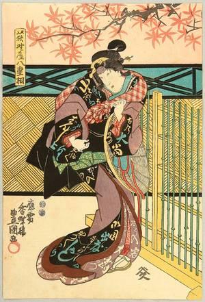 Utagawa Kunisada: Beauty Under Maple Leaves - Artelino