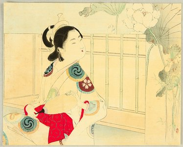 水野年方: Beauty and Lotus Flowers - Artelino