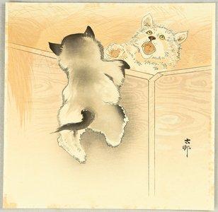 Ohara Koson: Playing Puppies - Artelino