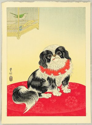 小原古邨: Pekingese Dog and Bush Warbler - Artelino