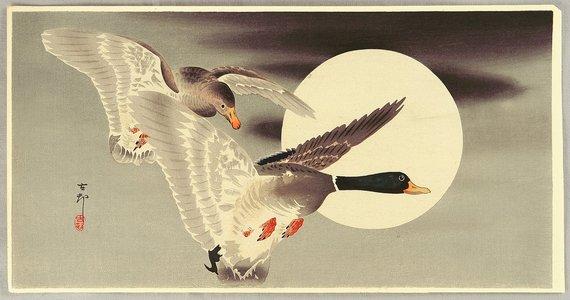 Ohara Koson: Two Mallard Ducks and the Moon - Artelino