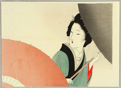 富岡英泉: Beauty with Umbrellas - Artelino