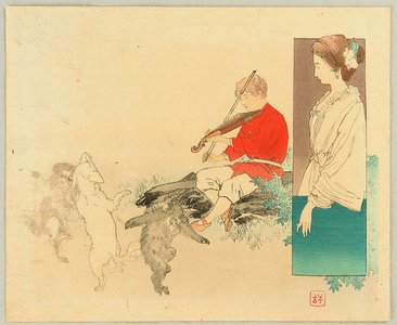 梶田半古: kuchi-e: Violin Player and Dancing Animals - Artelino