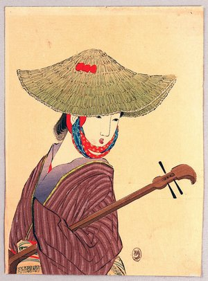 武内桂舟: Kuchi-e: Shamisen Player - Artelino
