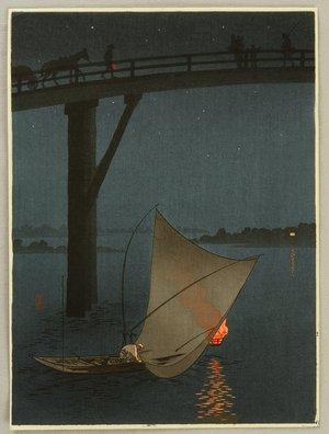 Arai Yoshimune: Fishing Boat - Night Scene Series - Artelino