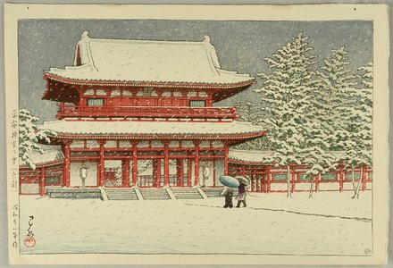 川瀬巴水: Snow at Heian Shrine - Artelino