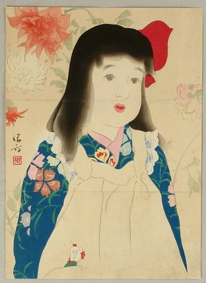 Kaburagi Kiyokata: Girl and Flowers - Artelino