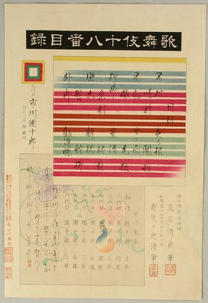 鳥居清貞: Index Page - Kabuki Juhachi Ban - Artelino