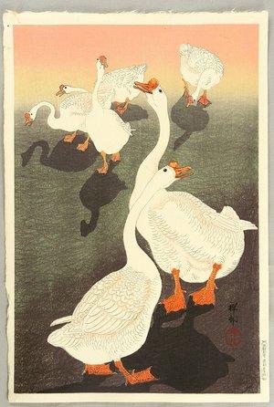小原古邨: Six Geese and Shadows - Artelino