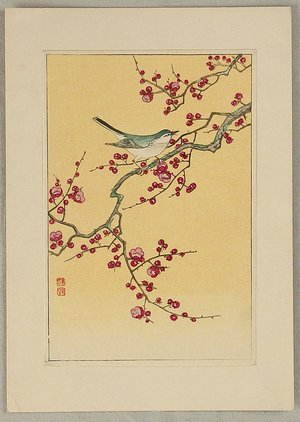 Ohara Koson: Bush Warbler and Plum - Artelino