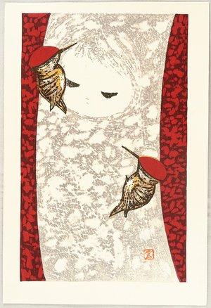 河野薫: Girl and Woodpecker - Artelino