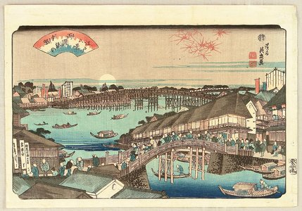 渓斉英泉: 8 Scenic Views of Edo - Sunset at Ryogoku Bridge - Artelino