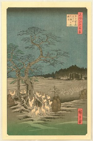 歌川広重: One Hundred Famous Places of Edo - Fox Fire at Oji - Artelino