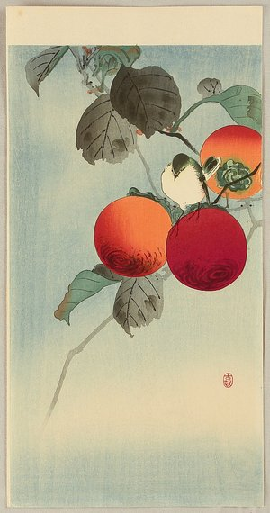 Ohara Koson: Nuthatch on Persimmon - Artelino