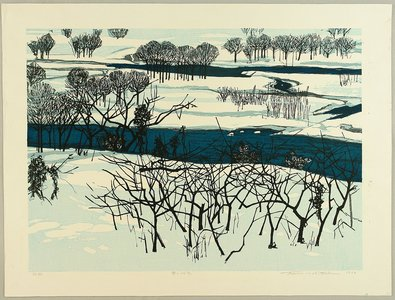 北岡文雄: Snow on the Riverbank - Artelino