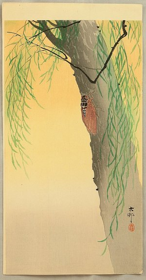 小原古邨: Cicada on a Willow Tree - Artelino