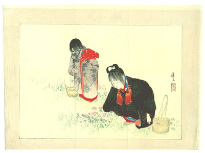 富岡英泉: Children and Flowers (kuchi-e) - Artelino