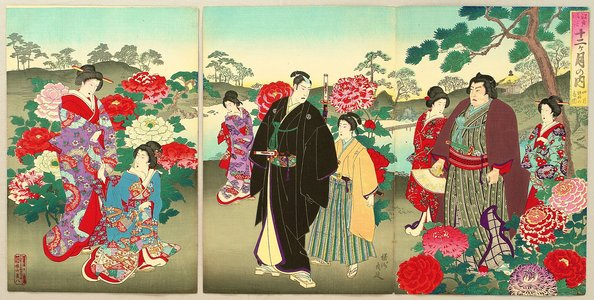 豊原周延: Customs and Manners of Edo 12 Months - April - Artelino