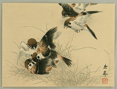 今尾景年: Keinen Kacho Gakan Juni Zu - Sparrows - Artelino