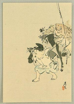 Shibata Zeshin: Ebisu and Ox - Artelino