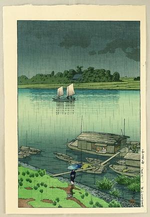 川瀬巴水: Early Summer Rain at Arakawa - Artelino