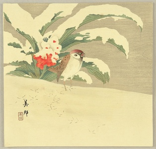 Takahashi Biho: Sparrow in Snow - Artelino