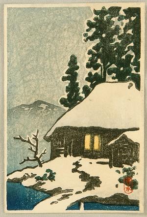 Kawase Hasui: Snowy Village House - Artelino