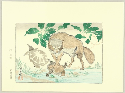 河鍋暁斎: Kyosai Rakuga - Raccoon Dog and Turtle - Artelino