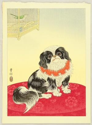 Ohara Koson: Pekingese Dog and Bush Warbler - Artelino
