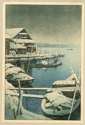 川瀬巴水: Snow at Mukojima - Artelino