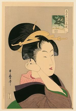 喜多川歌麿: Beauty in Purple Kimono - Artelino