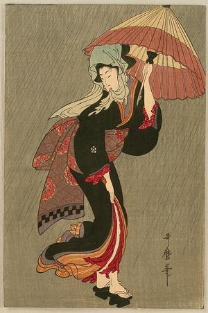 喜多川歌麿: Beauty in the Rain - Artelino