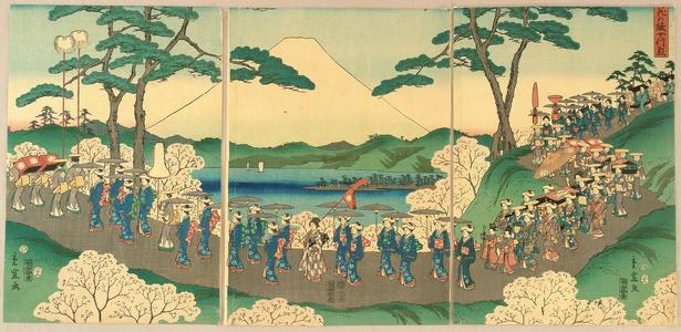 柳川重信: Procession and Mt. Fuji - Artelino