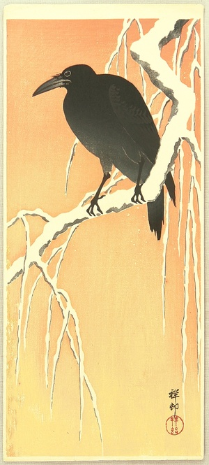 Ohara Koson: Crow on a Snow Covered Branch - Artelino