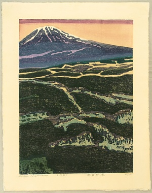 Hagiwara Hideo: 36 Views of Mt. Fuji - Morning Mist, Burning Meadow - Artelino