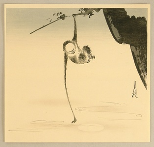 Ogata Gekko: Monkey and the Moon Reflection - Artelino