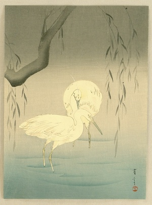 Watanabe Seitei: Two Egrets by a Willow - Artelino