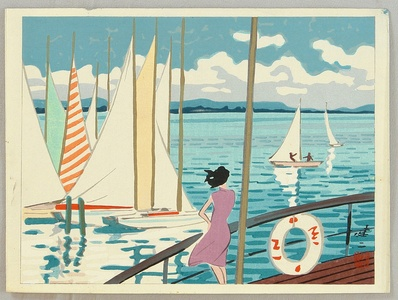 日下賢二: Sail Boats on Lake Biwa - Artelino