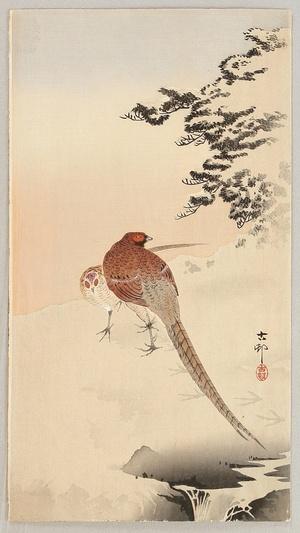小原古邨: Two Pheasants in the Snow - Artelino