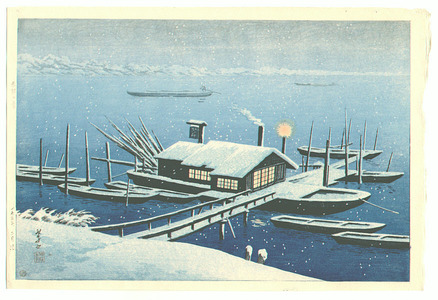 Henmi Takashi: Ferry in Snow at Akabane - Artelino