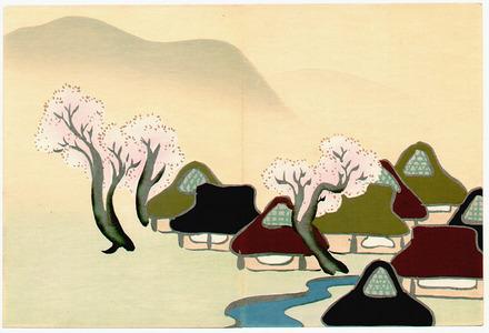 Kamisaka Sekka: Village with Cherry Blossoms - Momoyo Gusa - Artelino