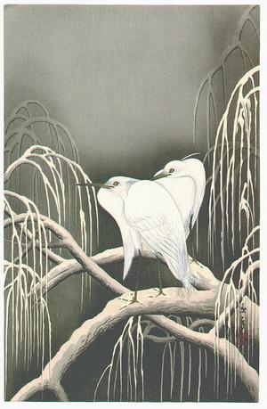 Imao Keinen: Two Egrets on a Snowy Branch - Artelino